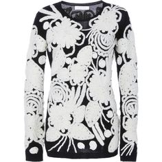 Naeem Khan Embroidered Cashmere Sweater (2,670 CAD) ❤ liked on Polyvore featuring tops, sweaters, black, naeem khan, embroidered sweaters, long sleeve tops, cashmere sweater and embroidered top