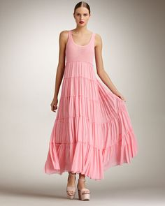 Jean Paul Gaultier Pink Tiered Maxi Dress