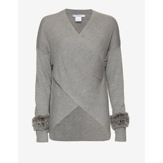 Derek Lam 10 Crosby Fur Cuff Cross Front Sweater ($595) ❤ liked on Polyvore featuring tops, sweaters, grey, grey long sleeve sweater, gray sweater, grey sweater, long sleeve sweaters and long sleeve tops