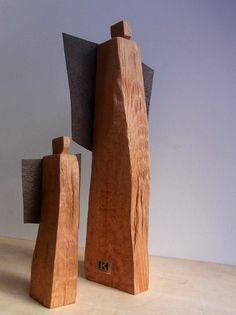 Nikolaus & Weihnachtsmann - handgefertigtes Engelpaar - aus Holz / Stahl…