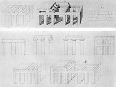 'Wand und Raumkonstruktion der geraden Bedeckung, und Hinweis auf die Architektur der alten Ägypter und Griechen' (Wall and spatial construction for a straight span with reference to the Egyptian and Greek architecture) by Karl Friedrich Schinkel made for his unfinnished architectural textbook. I like the abstracted and essential nature of these drawings of a traditional trabeated structure, It can seen as a forerunner of the modern (efficient) construction of the 20th century in general.