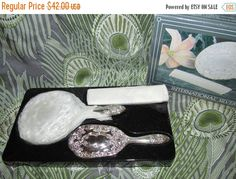 HOLIDAY SALE 80s Silver Plated Dresser Set // by VendageTresors
