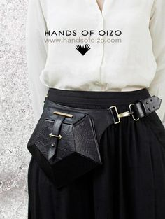 "HANDS OF OIZO - ""Pentagon"" Black Leather Bum Bag"