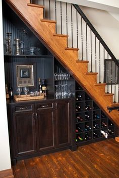 Furniture Traditional House Design With Wood Staircase And Wine Storage Under Stairs Also Minibar Cabinets Resourceful Wine Storage under Stairs in Businesslike Design and Style spiral concrete stair under stairs wine storage ideas precious embellishment Mini Bars, Basement Renovations, Home Remodeling, Basement Ideas, Open Basement, Basement Finishing, Small Basement Design, Gray Basement, Basement Bar Designs