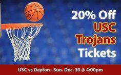20% off USC Trojans Basketball Tickets vs Dayton Flyers Sun. Dec. 30 @ 4:00pm