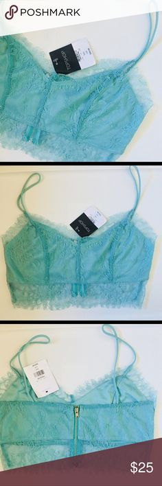 Topshop lace bralette NWT Topshop lace bralette. Zipper detail in back. Size 8. Brand new with tags. Topshop Tops