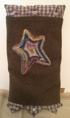 "Pillow ""sleeved"" with Rug Hooked Star."