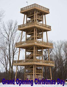 Marsh Tower Opens Christmas | Visit Sheboygan County Sheboygan County, Lakeside Park, Hillside Landscaping, Wine Rack, Castle, Tower, Platform, Backyard, Landscape