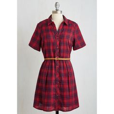 Mid-length Short Sleeves A-line Countryside Crooning Dress (3,030 PHP) via Polyvore featuring dresses, apparel, fashion dress, red, red shirt dress, red dress, red evening dresses, red holiday dresses and long plaid shirt dress