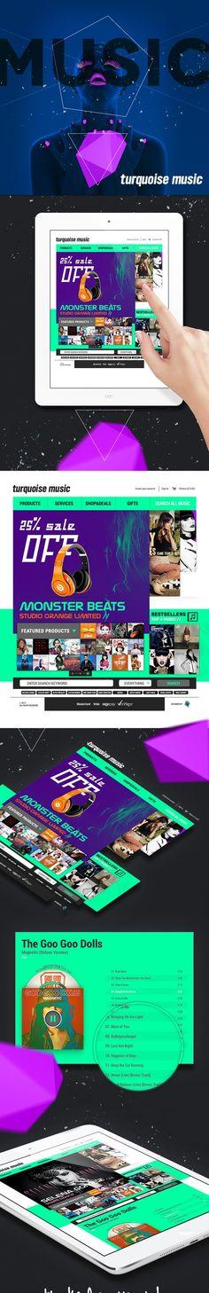 Turquoise Music Web Site Concept by SnowTiger , via Behance *** #web #gui #ui