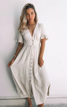Casual Summer Dresses, Summer Dresses For Women, Linen Summer Dresses, Summer Dresses With Sleeves, Casual Summer Style, Flowy Dress Casual, Vintage Summer Dresses, Beautiful Summer Dresses, Casual Dress Outfits
