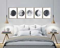 Moon Phases Watercolor Art Prints - Set of 5 Lunar Phases Prints - Moon Chart Posters - Mancave Decor Geeky Gift