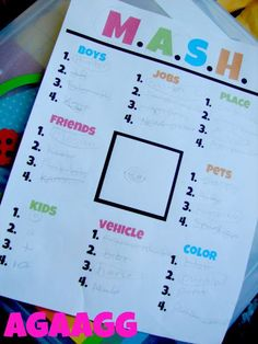 we are getting ready for school....by going OLD school - M.A.S.H. Printable! This is so great! #agirlandagluegun