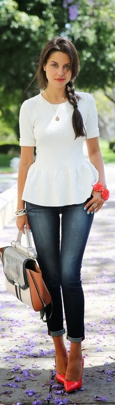 Capri Jeans With Pink Pumps Click for more
