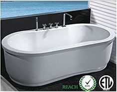 Freestanding Jetted Massage Hydrotherapy Bathtub, Indoor Whirlpool Hot Bath Tub