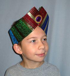 Bunte weiser Magier Krippe Kostüm Headpiece Krone mit Gold & Silber