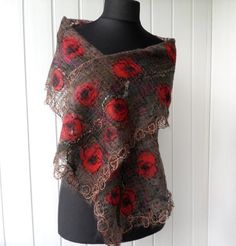 Brown scarv  with red poppies handmade  openwork by crazywoolLT