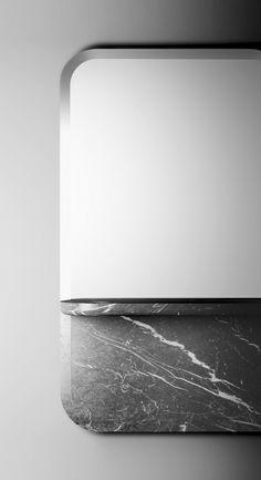 Sylvain Willenz's Alaka mirror in marble Id Design, Shape Design, Detail Design, Vintage Furniture Design, Marble Furniture, 3d Texture, Minimal Design, Home Decor Accessories, Textures Patterns