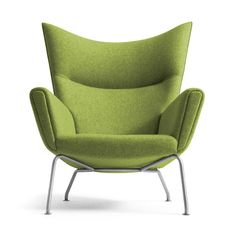 Hans Wegner wing chair, in Divina Melange Wool fabric by Kvadrat.