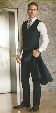Paul Walker #waistcoat #tie #shirt