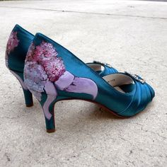 Wedding Shoes teal peep toes lilac bouquet ribbons by norakaren, $225.00