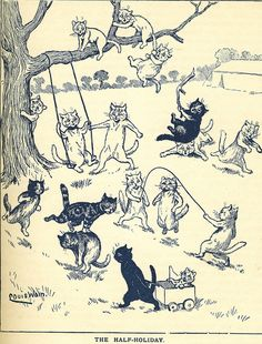 The half-holiday (1918) Children's book illustration, Louis Wain