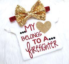 My heart belongs to a firefighter, firefighter, daddy, mommy, fire, heart, glitter, sparkle, newborn by PerfectlyPINKBow on Etsy https://www.etsy.com/listing/466225158/my-heart-belongs-to-a-firefighter