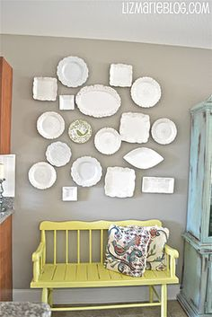 eclectic plate wall.  Plates from TJ Maxx and hangars from Lowe's