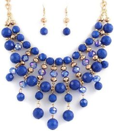 Beaded blue bib fashion statement necklace earring set Sophia Maria Jewelry from #SophiaMariaJewelry