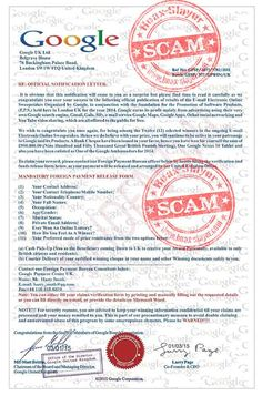 Google 'Email Electronics Sweepstakes' Advance Fee Scam