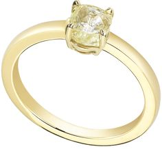 Diamond in the Rough. Moderne ring features a natural rough diamond set in yellow gold. Yellow Diamond Rings, Rough Diamond, Seaside Wedding, Summer Wedding, Yellow Engagement Rings, Gold Jewelry, Unique Jewelry, Lemon Yellow, Wedding Rings