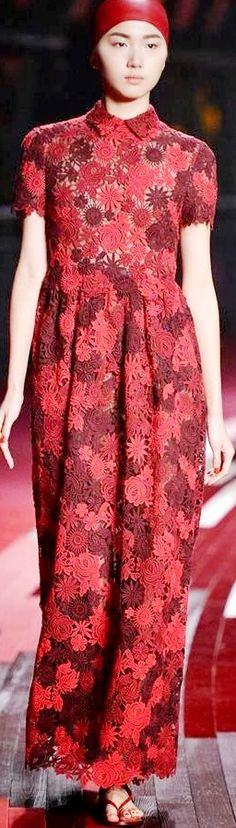 Valentino's Shanghai Collection 2013. Mostly warm reds but Youthful style (round shapes, macrame/lace.)