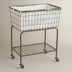 Decor/Accessories - Ellie Rolling Laundry Cart | World Market - rolling laundry cart, wire laundry cart, rustic laundry cart, laundry cart on casters,