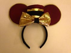 Disney Tower of Terror bell-hop Mickey ears… Diy Disney Ears, Disney Mickey Ears, Disney Bows, Disney Hair, Cute Disney, Disney Outfits, Disney Style, Tower Of Terror, Ear Headbands