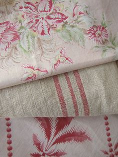Antique Vintage French fabric materials ~ Project Bundle~ pinks