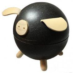 plan toys spaarpot varken zwart