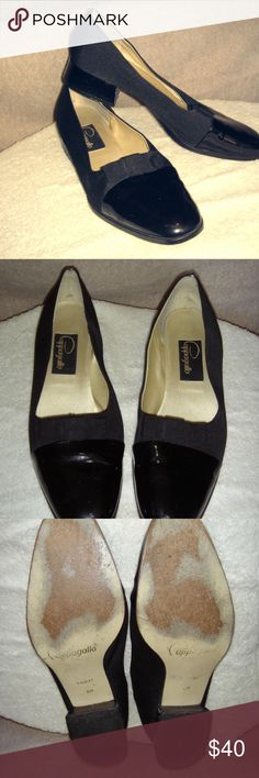 Pappagallo Black Chunky Low Heels Gently worn Pappagallo black chunky low heels.  The outside of the shoe has a grosgrain fabric upper with a patent (don't know if it's leather though) toe and heel and  a grosgrain bow.   Very classy looking with only a couple scuffs and scrapes on the heel.  The inside of the shoe is in great condition.  They fit true to size.  My feet have changed size and they no longer fit. Pappagallo Shoes Heels
