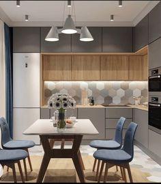 Kitchen Room Design, Kitchen Cabinet Design, Modern Kitchen Design, Kitchen Layout, Home Decor Kitchen, Interior Design Kitchen, Home Kitchens, Modern Kitchen Interiors, Pantry Design