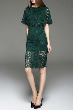 Cut Out Lace Capelet Dress - BLACKISH GREEN M