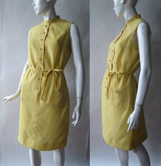1960's lemon yellow shirt dress with narrow by afterglowvintage, $38.00