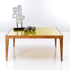 Table basse verre coloré RÉTRO en 4 coloris - Jaune- Vue 1