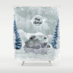 Cute polar bear baby Shower Curtain by