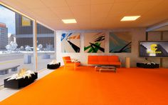 edge mirrors interior background mirror orange office wallpaperscraft commercial decorating