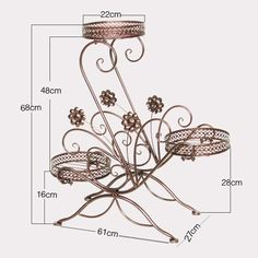 Metal Floor-Standing Wrought Iron Pot Plant Stand Flower Planter 8 Style US Sell | eBay