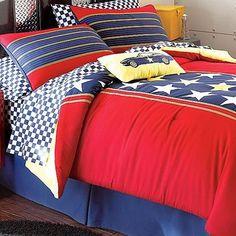 Racer Stars Patriotic 5 Piece Queen Comforter Sheets Bedding Set New