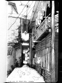 Series of small compound led by alleyways... Almost like a small courtyard spaces as communal space for dwellers inside... @ Kampung melayu Kecil, Tebet, jakarta. Artist: YeeKee Ku. Year 2013