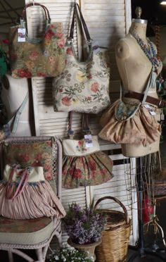 inside the booth of TheShabbyFrenchome Gypsy Bag, Market Stalls, Boho Bags, Refurbished Furniture, Beautiful Bags, Drawstring Backpack, Shabby Chic, Tote Bag, Purses