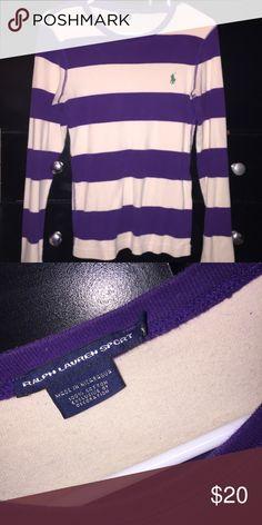 Ralph Lauren LS Tee Beautiful purple & white striped tee w/ green RL horse Ralph Lauren Tops Tees - Long Sleeve