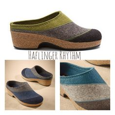 Haflinger Rhythm: a cute boiled wool slide with great arch support and room for toes. A rigid-sole helps protect forefoot (good for painful toes, hallux limitus).