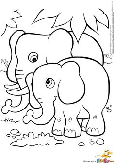 Elephant Coloring Page Animal Pages For Kids Sheets
